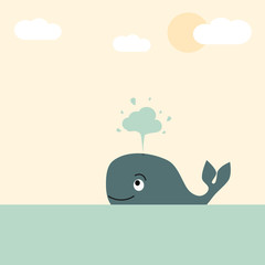 cute lovely cartoon whale in the sea vector pastel illustration for greeting card