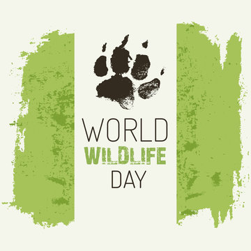 World wildlife day - vector poster with wolf footprint.