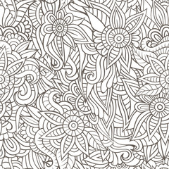 Sketchy doodles decorative floral outline ornamental seamless pa