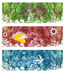 Fototapete - Ensemble 3 Bannières / Headers - Motif Floral Végétal Feuillage et Herbes Rouge Vert Bleu