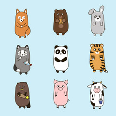 Vector funny animals hand drawn picture