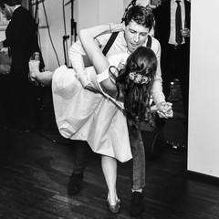 stylish retro bride and groom dancing first wedding dance swing