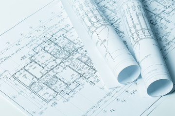 Architectural blueprints close up