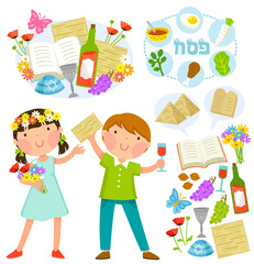 set of Passover illustrations with kids and related symbols