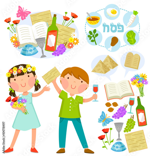 Set Of Passover Illustrations With Kids And Related Symbols Stock