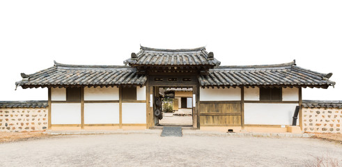 Traditional arched entrance of ancient korea building.