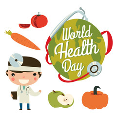 Health day cute set. Doctor, earth and fruits.