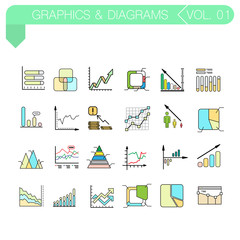 Set of vector color icons of graphics and diagrams.