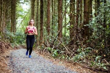 Pretty blonde woman running