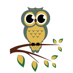 Vector owl sitting on a branch on the white background