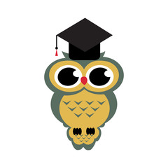 Vector owl sitting on a branch on the isolated background
