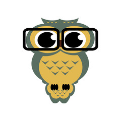 Vector owl with glasses on the isolated background