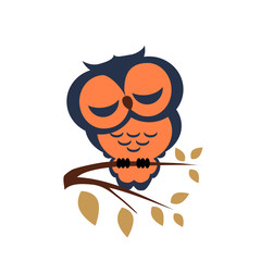 Vector sleeping owl sitting on a branch on isolated background