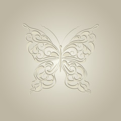Paper butterfly with vintage pattern