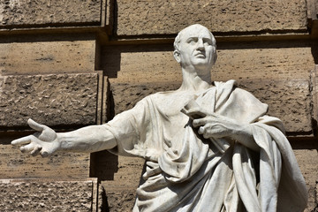 Cicero, the greatest orator of Ancient Rome. Marble statue in front of Palace of Justice in Rome