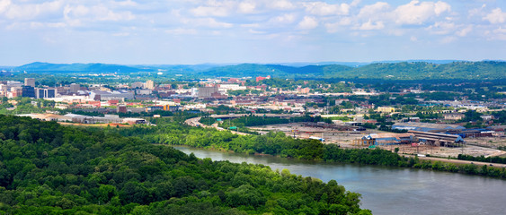 Panorama landscape of Chattanooga on the Tennessee River as seen from Chickamauga Dam