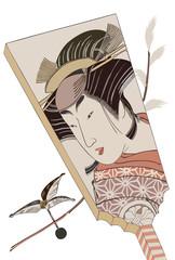 eps Vector image:battledore Japanese Bijinga