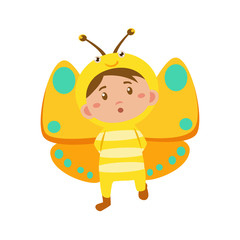 Child Wearing Costume of Butterfly. Vector Illustration