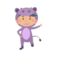 Child Wearing Costume of Hippo. Vector Illustration