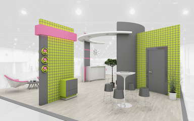 Exhibition Stand in Green and Pink colors  3d Rendering