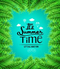 Summer Time Text with Palm Tree Leaves Boarders in Blue Background