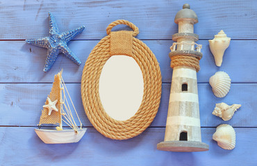 top view nautical concept with nautical life style objects