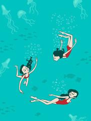 Diving woman.