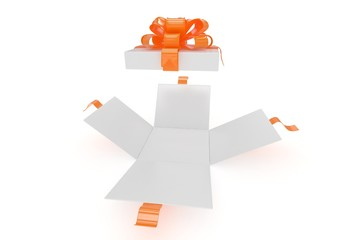 open gift box on white background