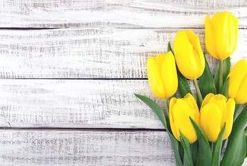 Bouquet of yellow tulips on white rustic wooden background. Spri