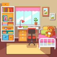 Preschool or school student girls room interior