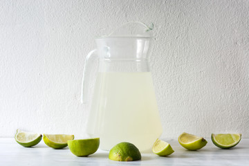 Lime juice on white wood