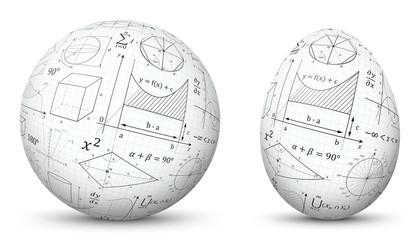 3D Vector Kugel und Ei - Sphäre und Oval isoliert auf reinem Weiß - Weißer Hintergrund - Mathematische Formeln - Mathematik Formelsammlung Textur. Freigestellt mit Schatten.