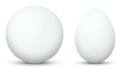 3D Vector Kugel und Ei - Sphäre und Oval isoliert auf reinem Weiß. Kariertes Papier, Karomuster Textur Vorlage. Weißer Hintergrund - Freigestellt mit Schatten.