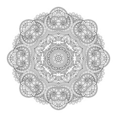 Vector Beautiful Deco Monochrome Contour Mandala