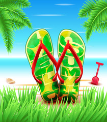 Hello Summer Slippers or Flip flops at the Beach for with Blue sky Horizon in a Background. Vector Illustration