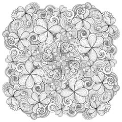 Vector Monochrome Hand Drawn Ornament with Decorative Clover and