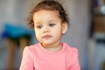 beautiful little mulatto baby girl face
