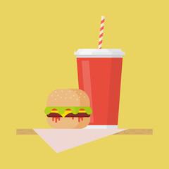 Hamburger and soda vector illustation
