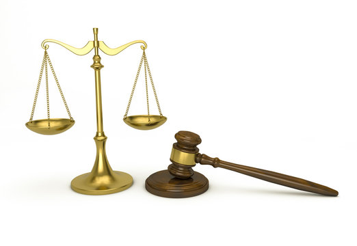 Scale and gavel - law concept