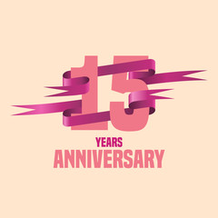 Fifteen years anniversary celebration design. Golden seal logo, vector illustration