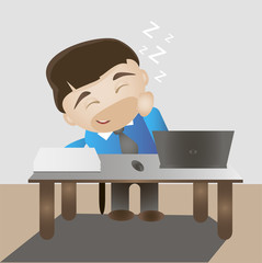 Sleeping happy man on a work place. Flat vector illustration