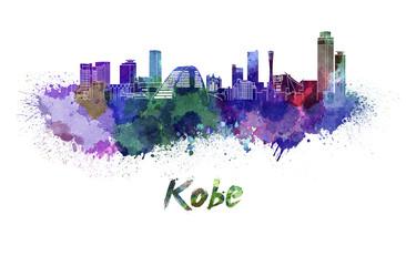 Kobe skyline in watercolor