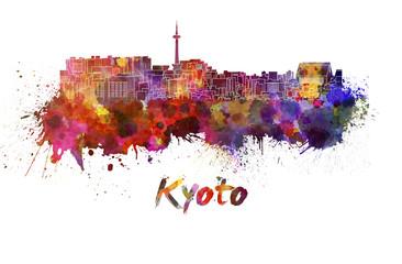 Kyoto skyline in watercolor Wall mural
