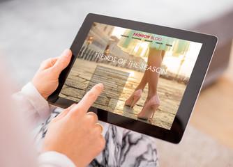 Fashion blog / website on digital tablet