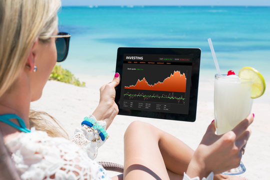 Woman monitoring her stock investments