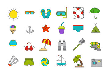 Vector vacation icons set