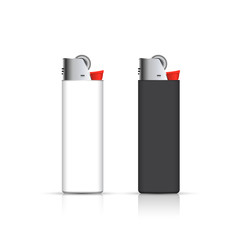 Black and white lighters  isolated on white. Vector for corporate identity. Advertising template