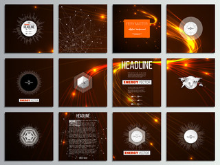 Set of 12 creative cards, square brochure template design. Abstract lines background, dynamic glowing decoration, motion design, energy style vector illustration