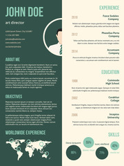 New resume cv template with green stripe