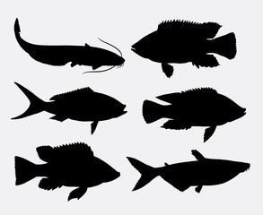 Fish animal silhouette 1. Good use for symbol, icon, logo, mascot, sign, or any design you want. Easy to use.